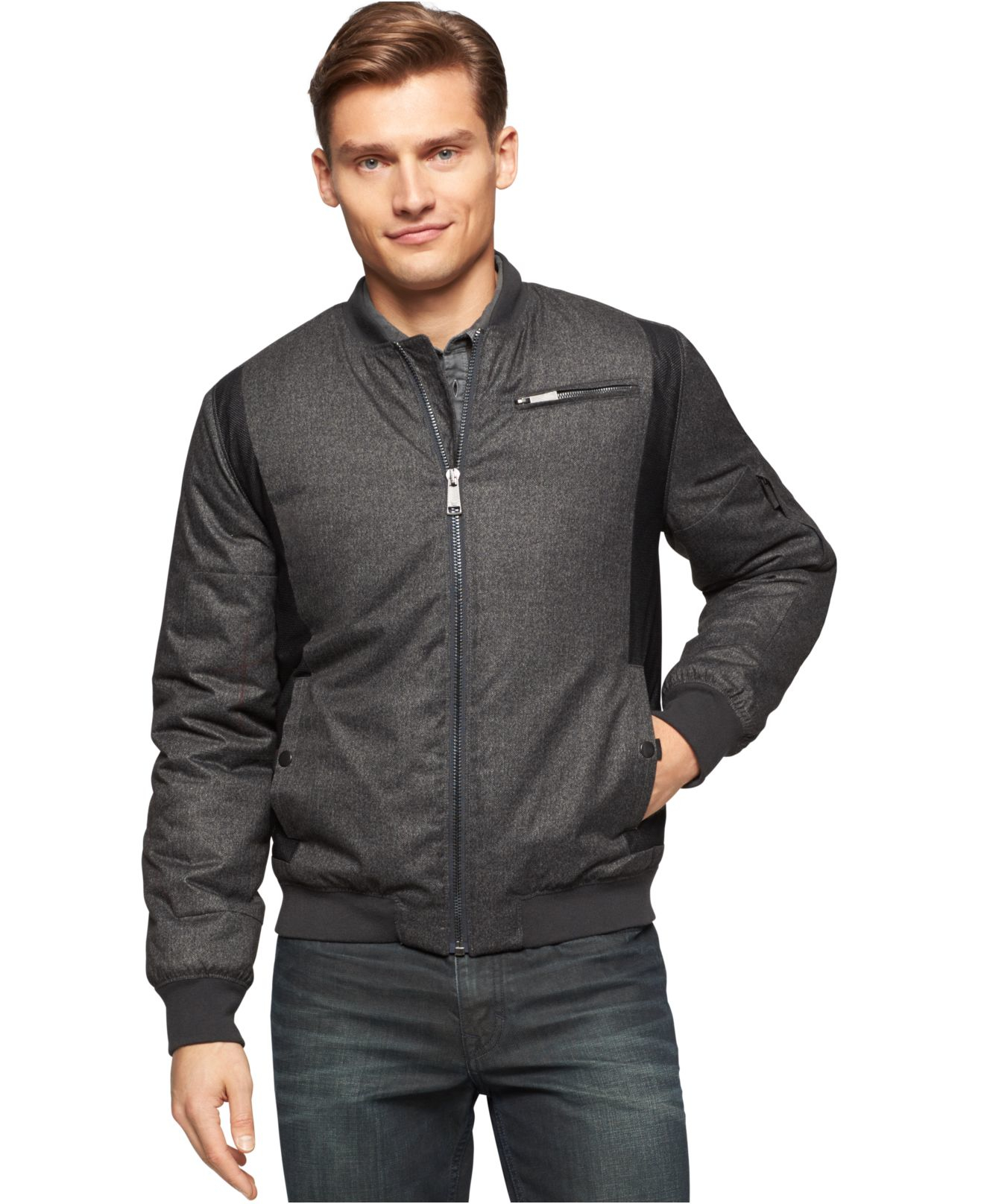 Lyst Calvin Klein Jeans Mixed Media Bomber Jacket In