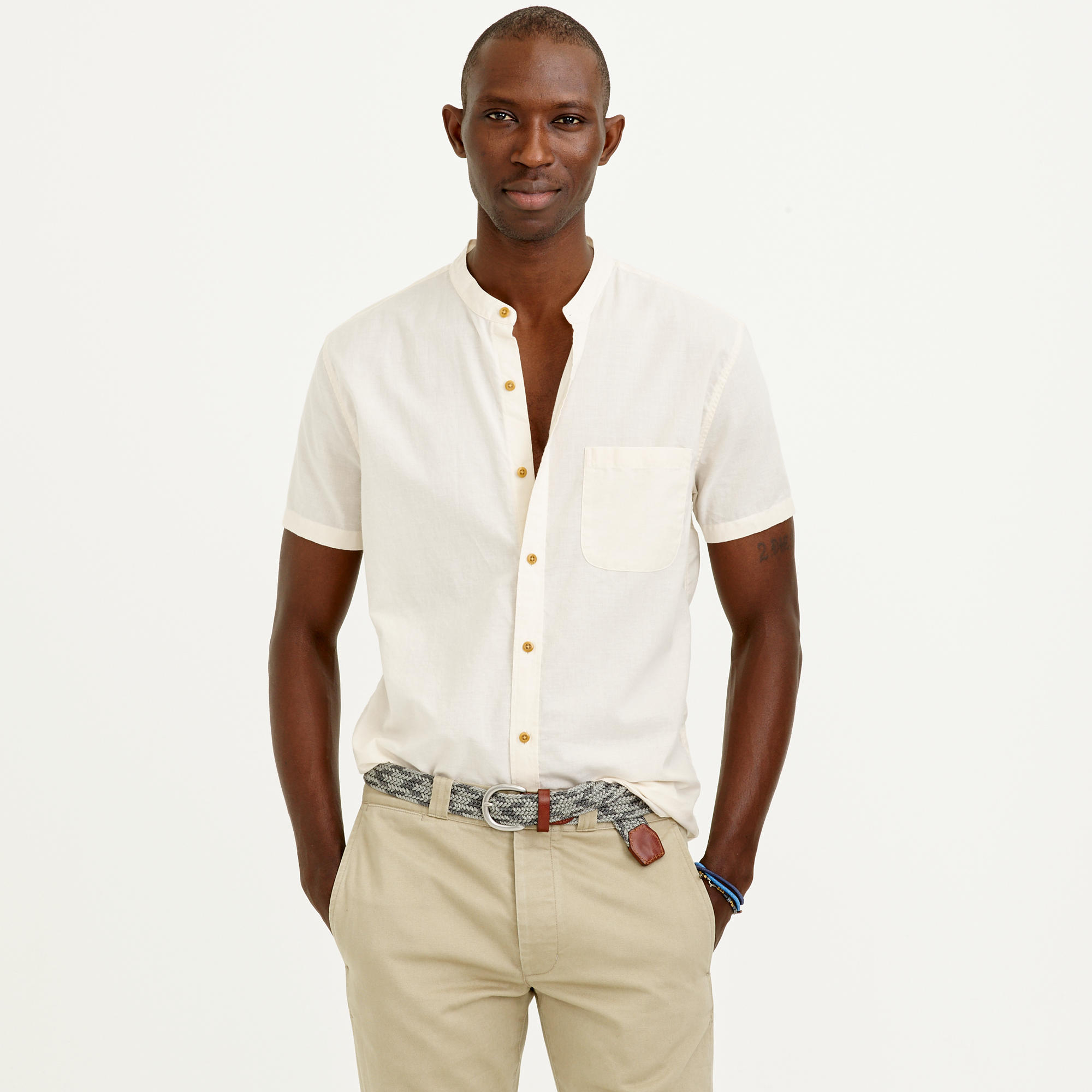 d401f8a96698c1 J.Crew Short-sleeve Indian Cotton Band-collar Shirt in Natural for ...