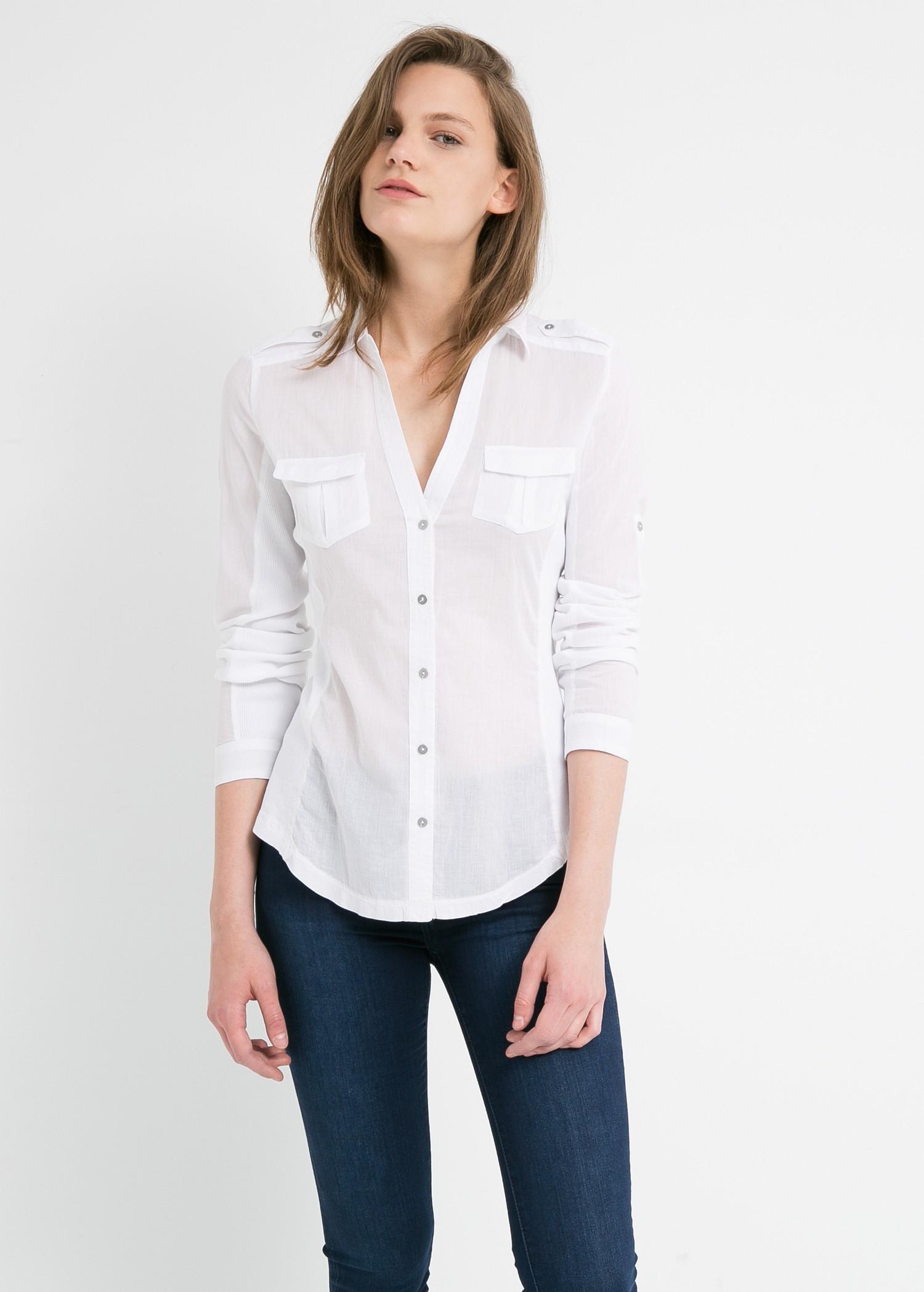 54b7a885 Mango White Chest-Pocket Cotton Shirt