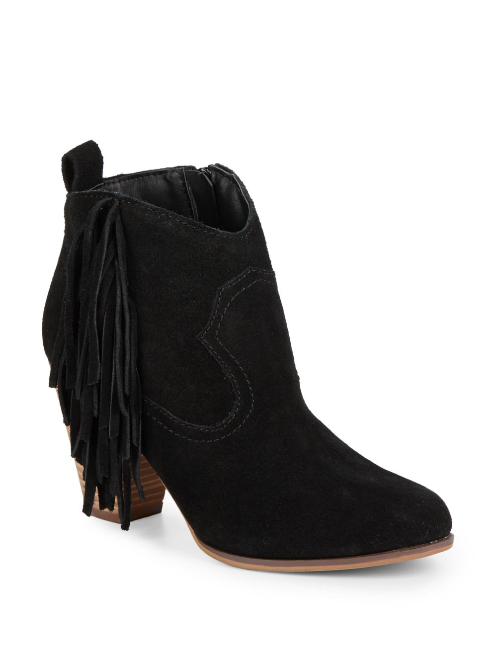 steve madden cian fringed suede ankle boots in black
