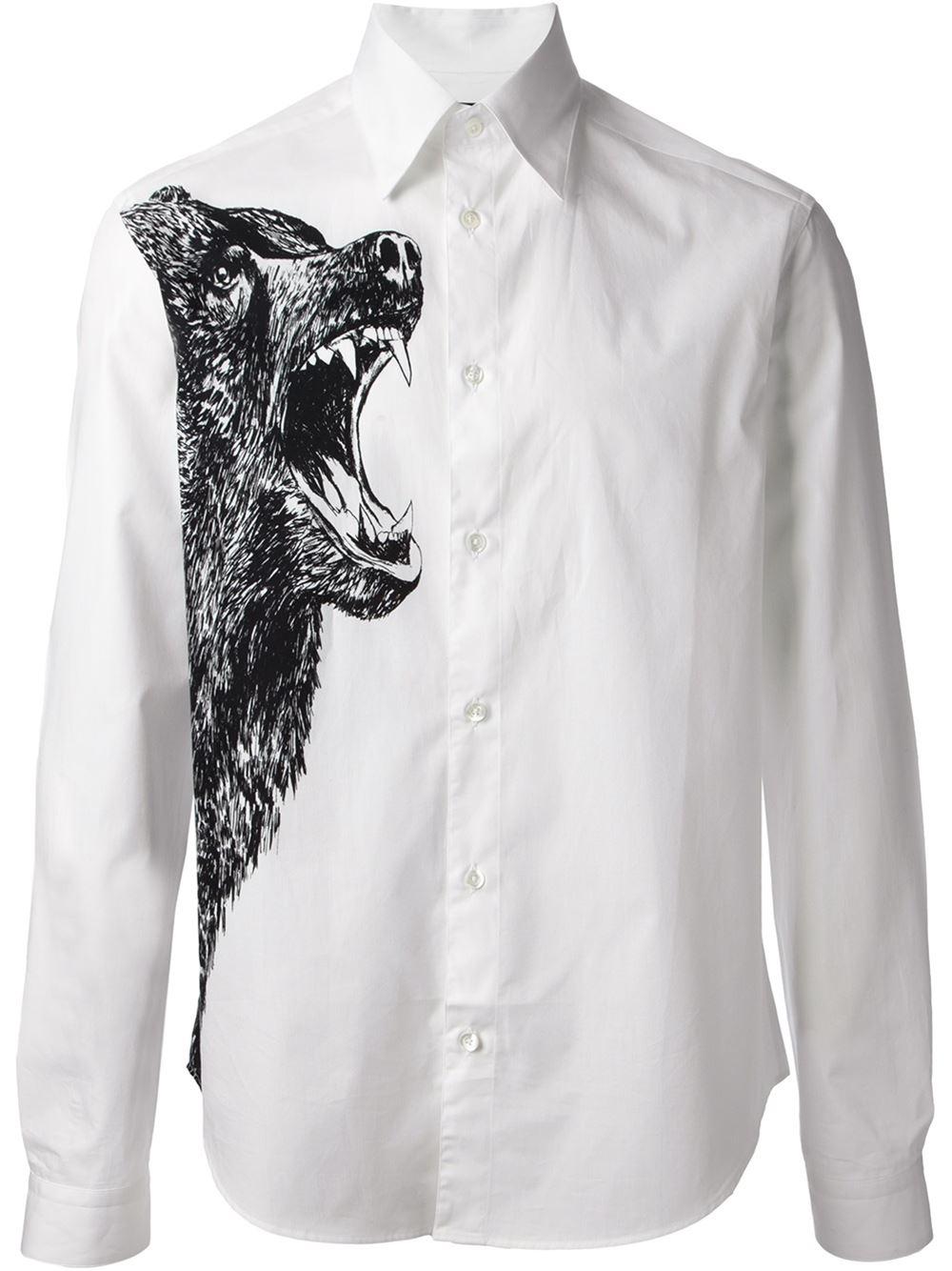 Mcq bear print shirt in black for men lyst for Alexander mcqueen shirt men