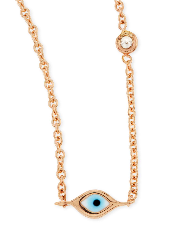 lyst sydney evan 14k rose gold evil eye necklace with. Black Bedroom Furniture Sets. Home Design Ideas