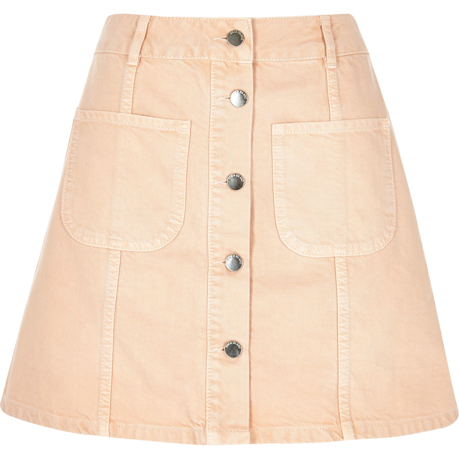 78e3cebc1746b1 River Island Pink Denim Button-up A-line Skirt in Pink - Lyst