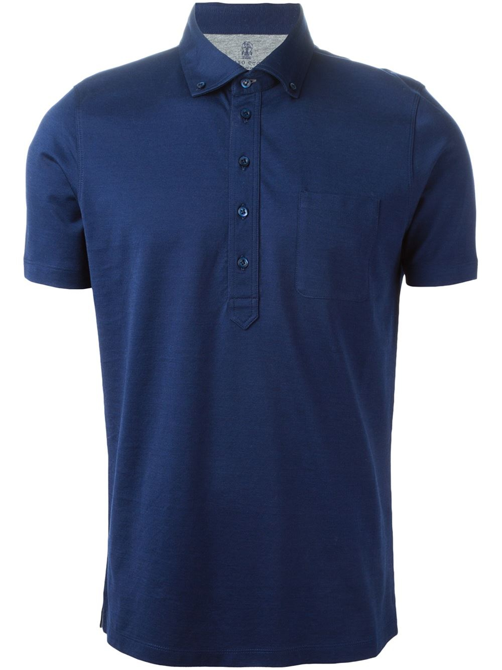 Brunello cucinelli button down polo shirt in blue for men for Polo shirts without buttons