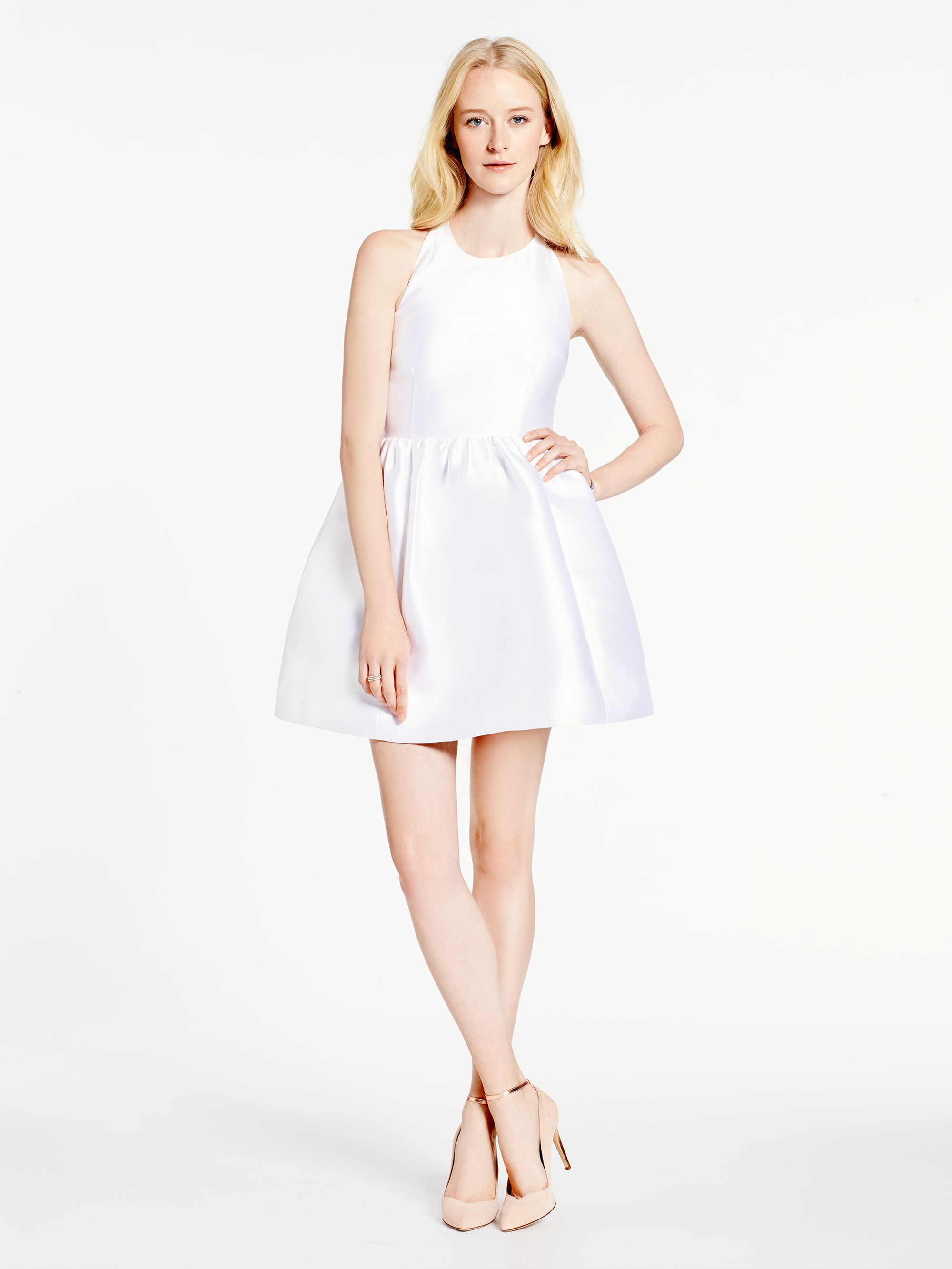Kate Spade New York Bow Back Fit And Flare Dress In White