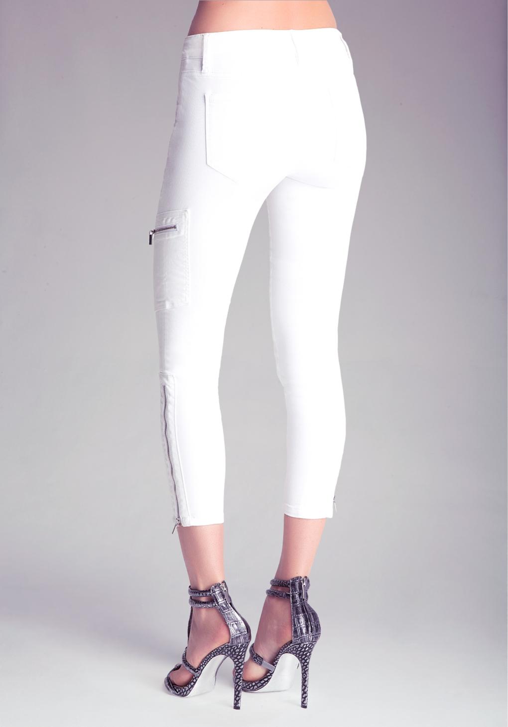 Bebe Cargo Zip Capri Jeans in White