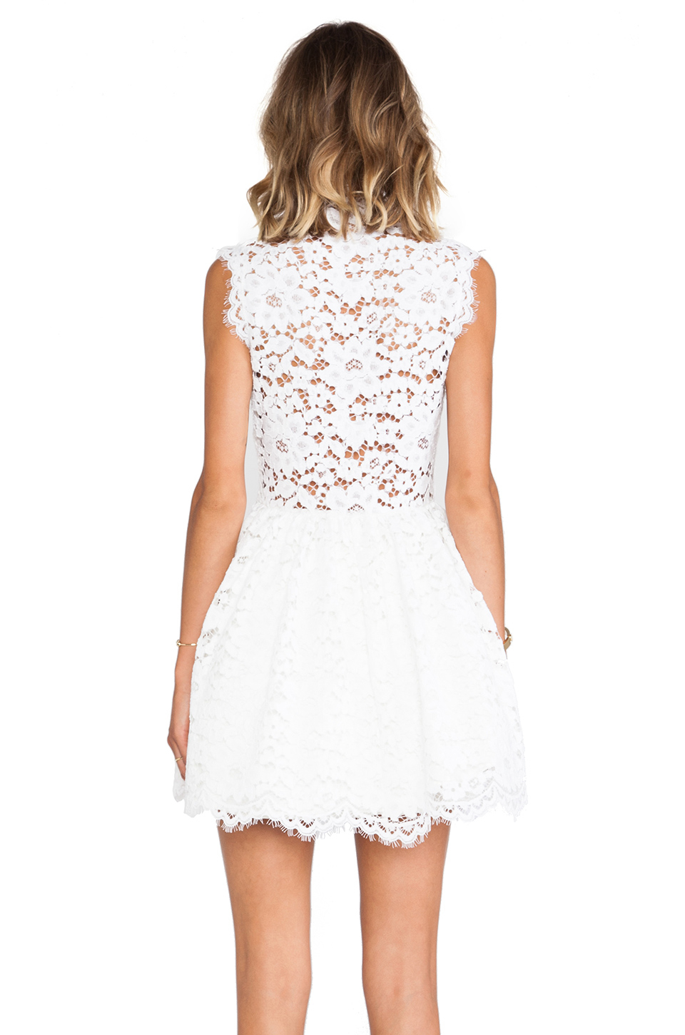 Alexis Antilles Scalloped Detail Lace Dress In White Lyst