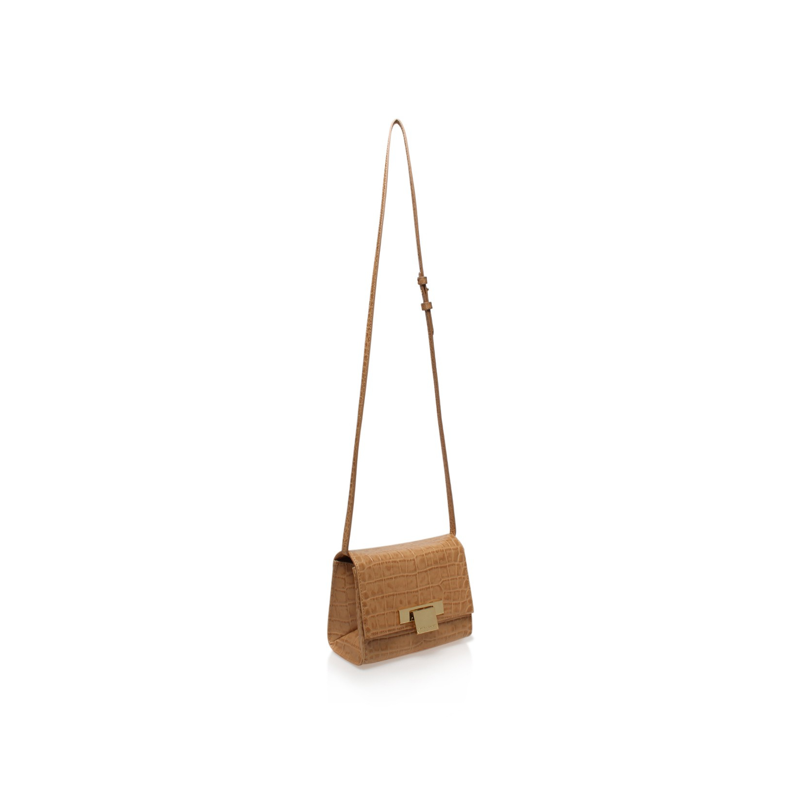 Kurt Geiger Leather Croc Annie Cross Body in Beige (Natural)