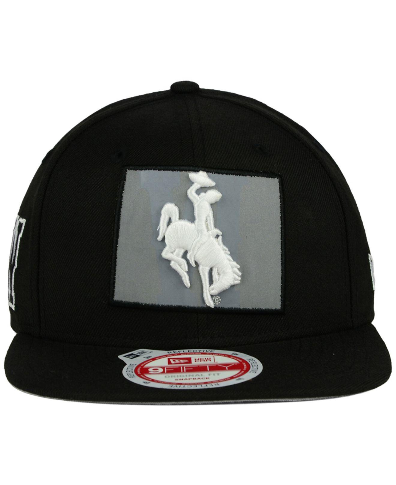 KTZ Black Wyoming Cowboys State Flective 9fifty Snapback Cap for men