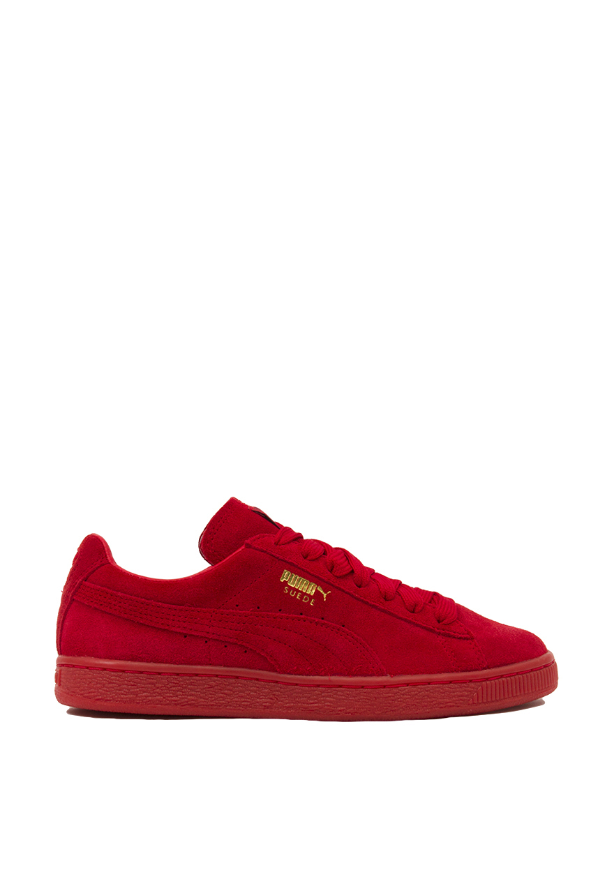 finest selection bf244 a9d73 Women's Red Suede Classic + Mono Iced Sneakers
