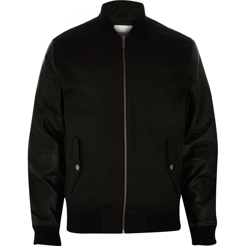 river island black jack jones premium bomber jacket in. Black Bedroom Furniture Sets. Home Design Ideas