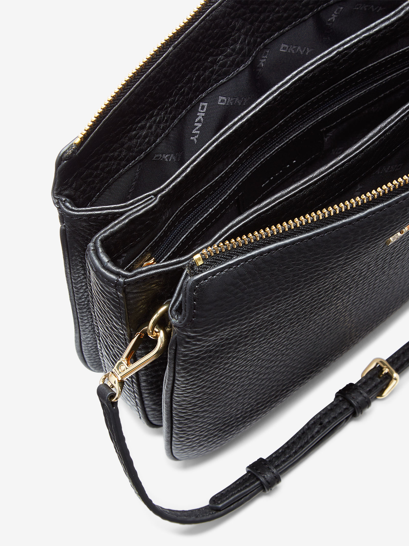 Lyst - DKNY Tumbled Leather Triple Compartment Crossbody in Black