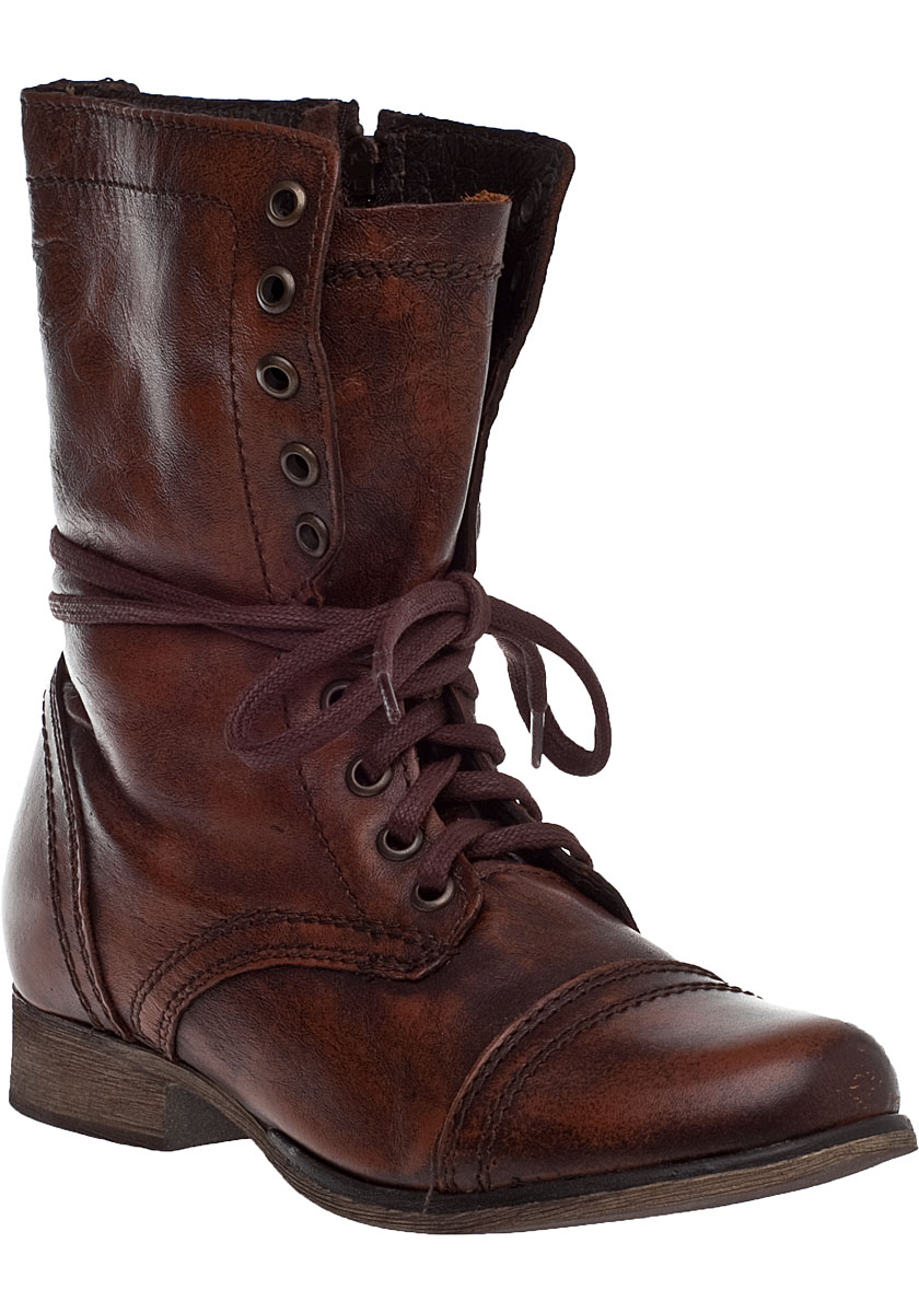 Steve madden Troopa Lace-up Boot Brown Leather in Brown | Lyst