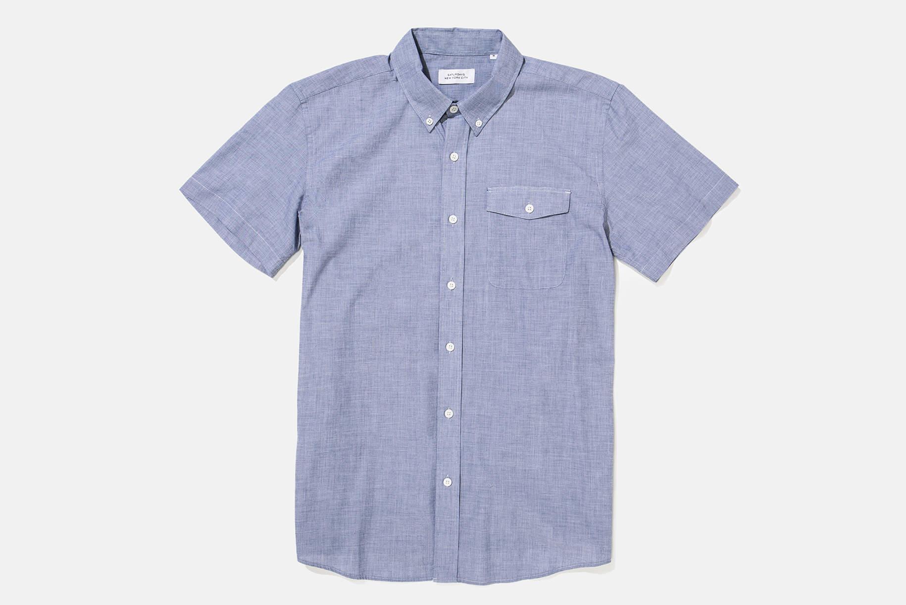 Lyst Saturdays Nyc Flynn End On End Shirt In Blue For Men