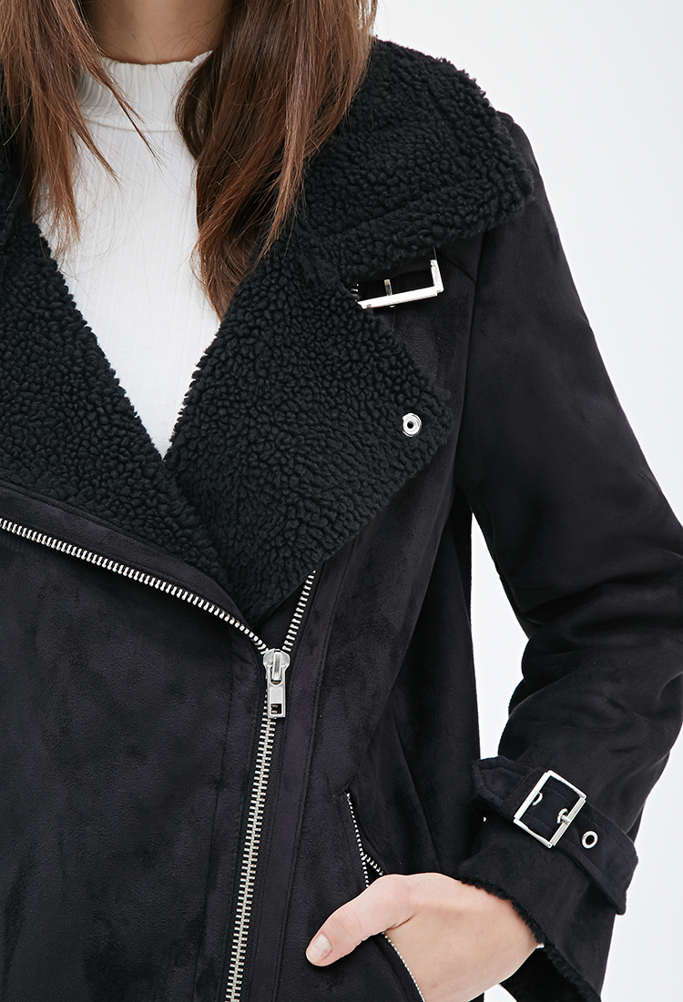 forever 21 faux suede aviator jacket in black lyst