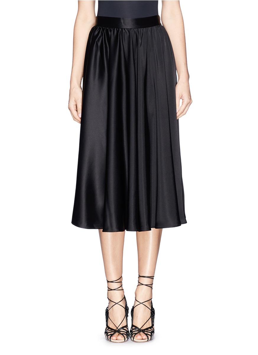 st liquid satin midi circle skirt in black lyst