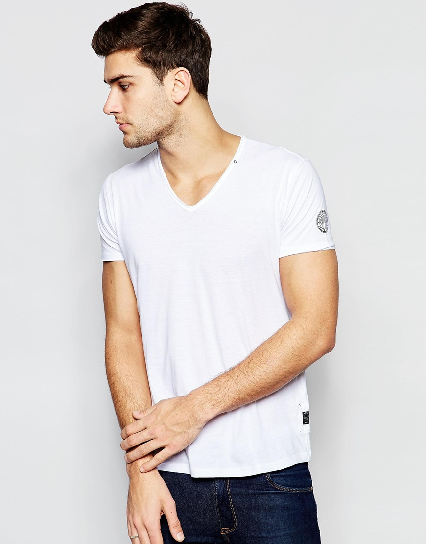 Lyst Replay T Shirt Deep V Neck Laser Cut In White In