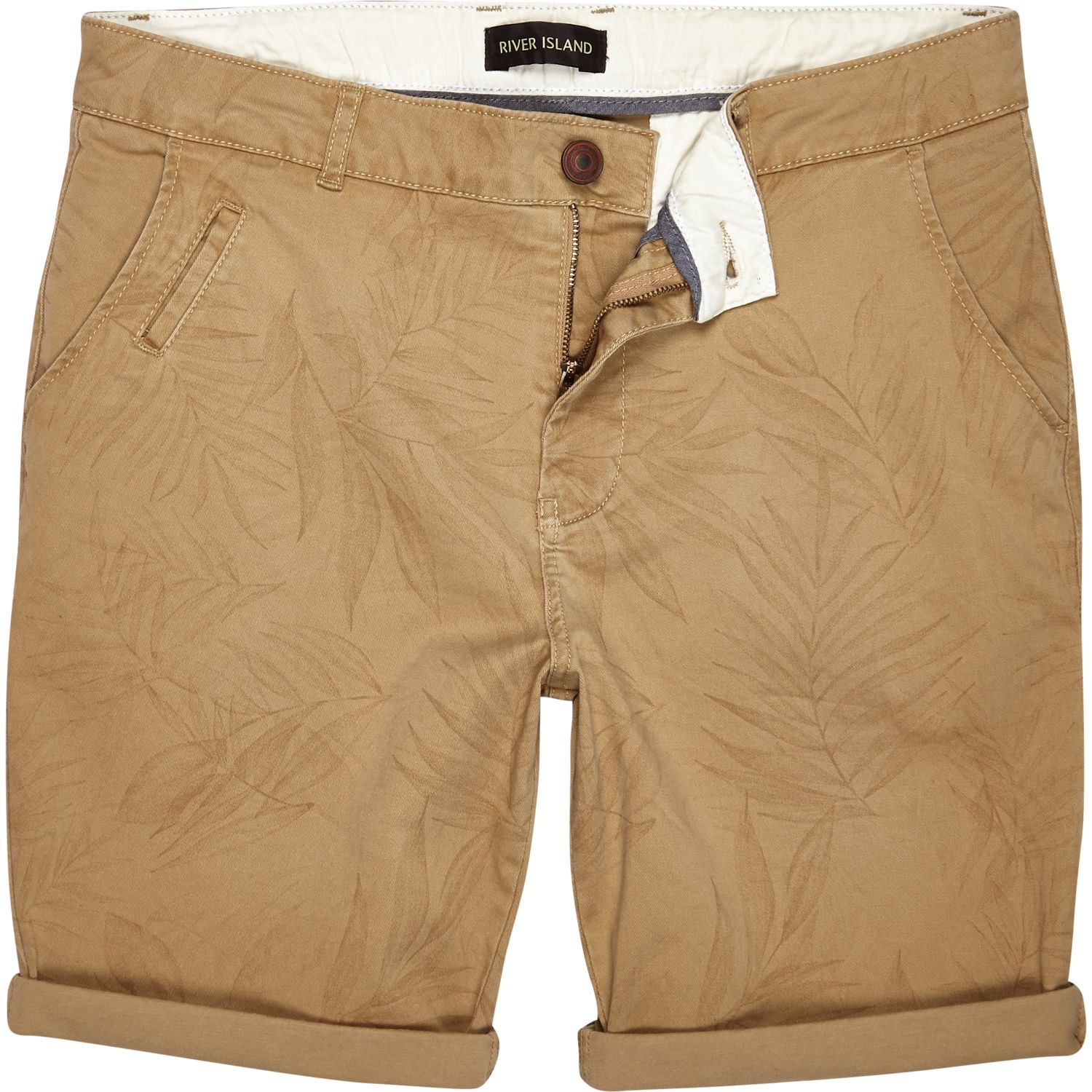 River Island Tan Faded Leaf Print Chino Shorts in Brown