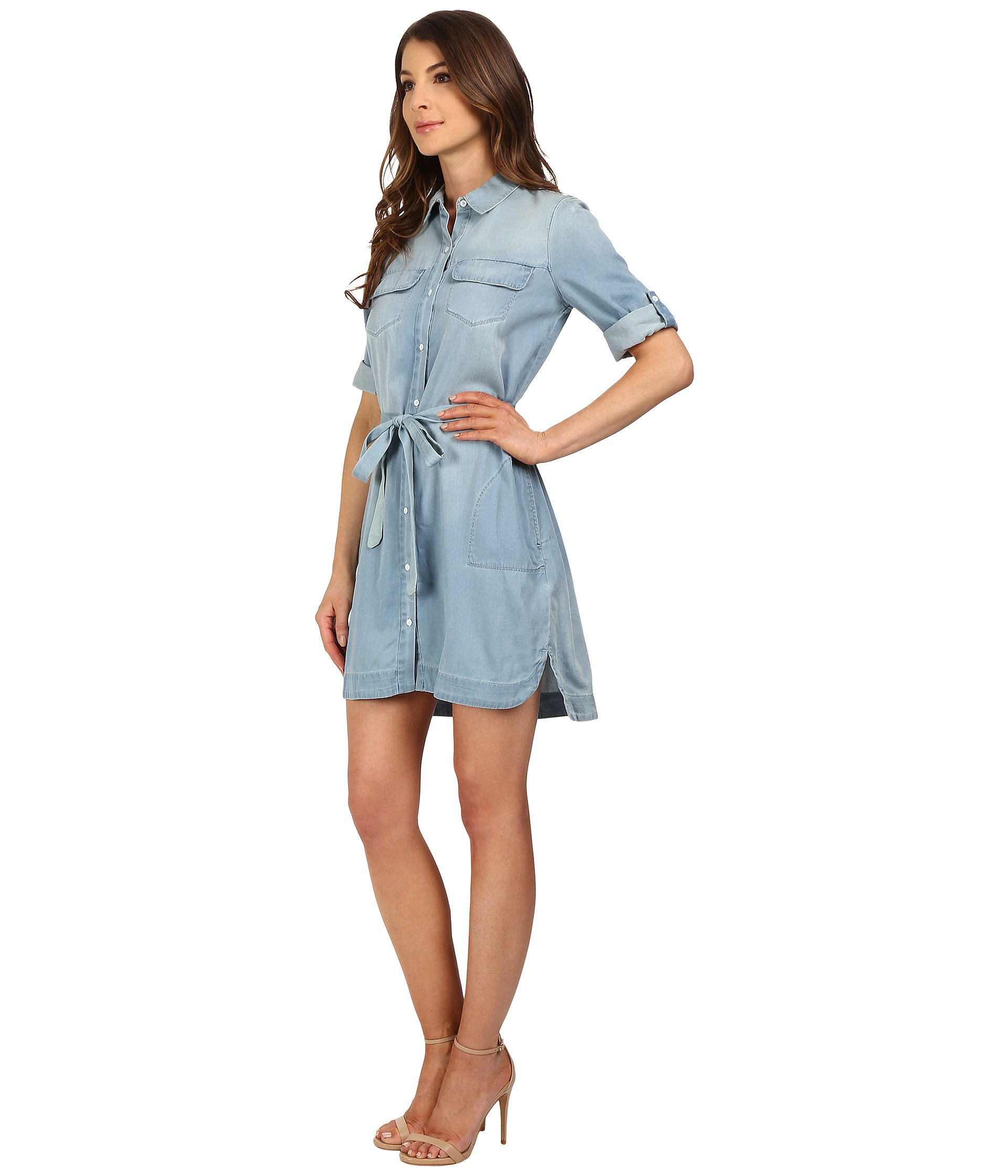 1aeb9c55b2 Lyst - Calvin Klein Drawstring Denim Dress in Blue