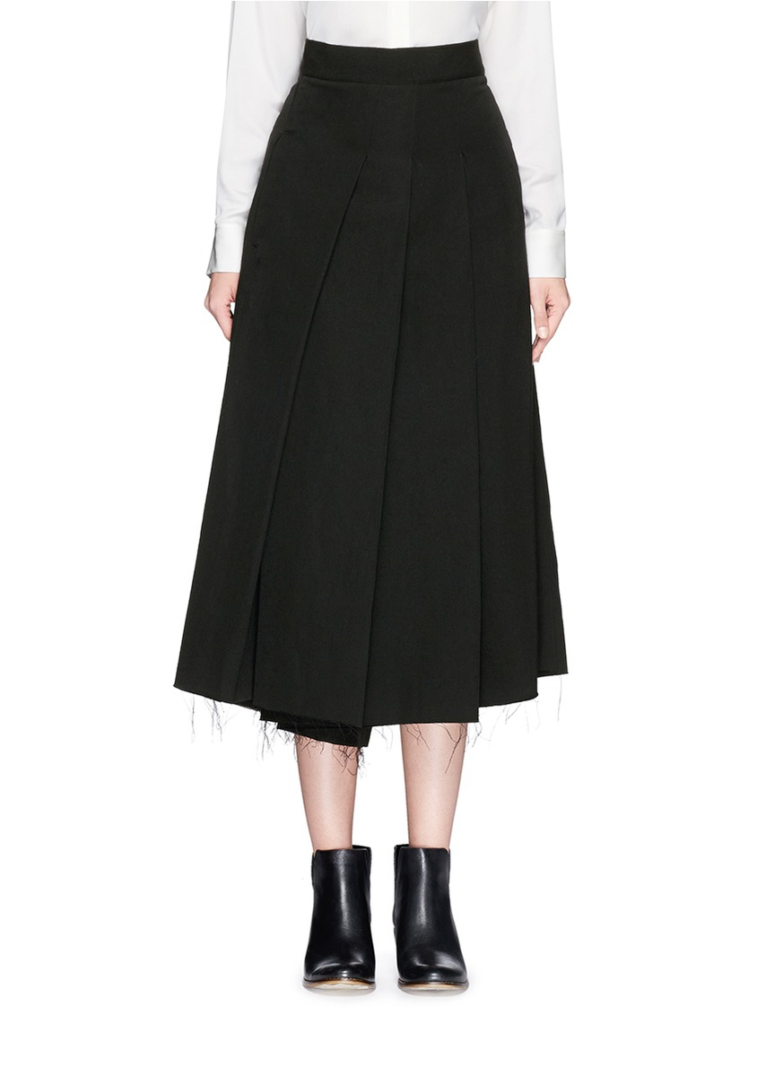 song for the mute pleat front wool skirt in black lyst