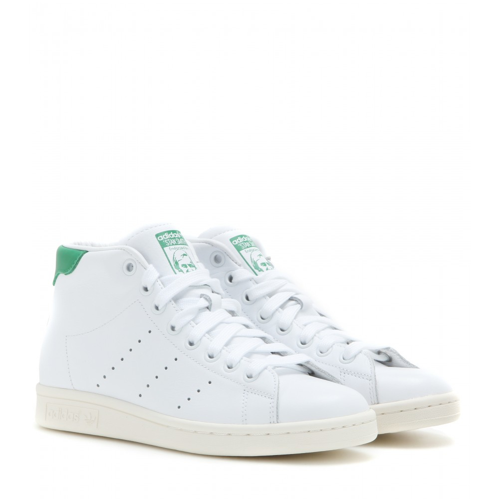adidas stan smith mid leather high top sneakers in green. Black Bedroom Furniture Sets. Home Design Ideas