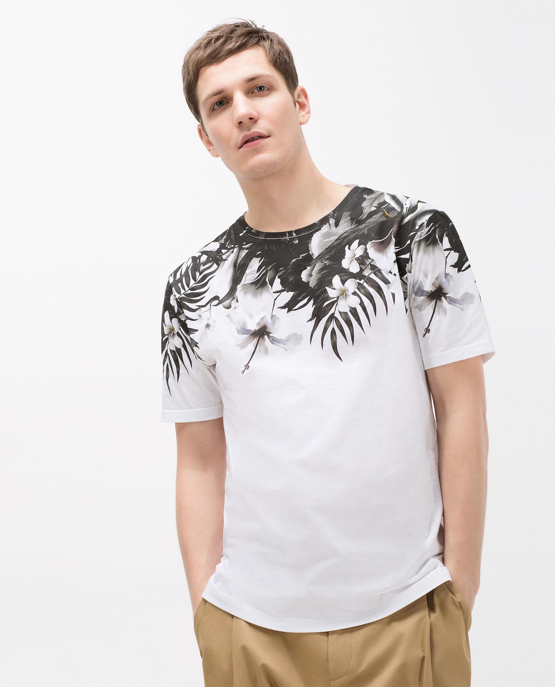 Zara floral yoke t shirt in black for men lyst for Zara mens floral shirt
