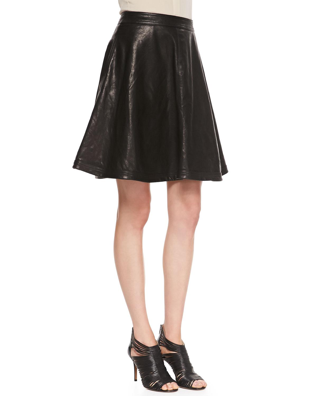 diane furstenberg flowy leather skirt in black