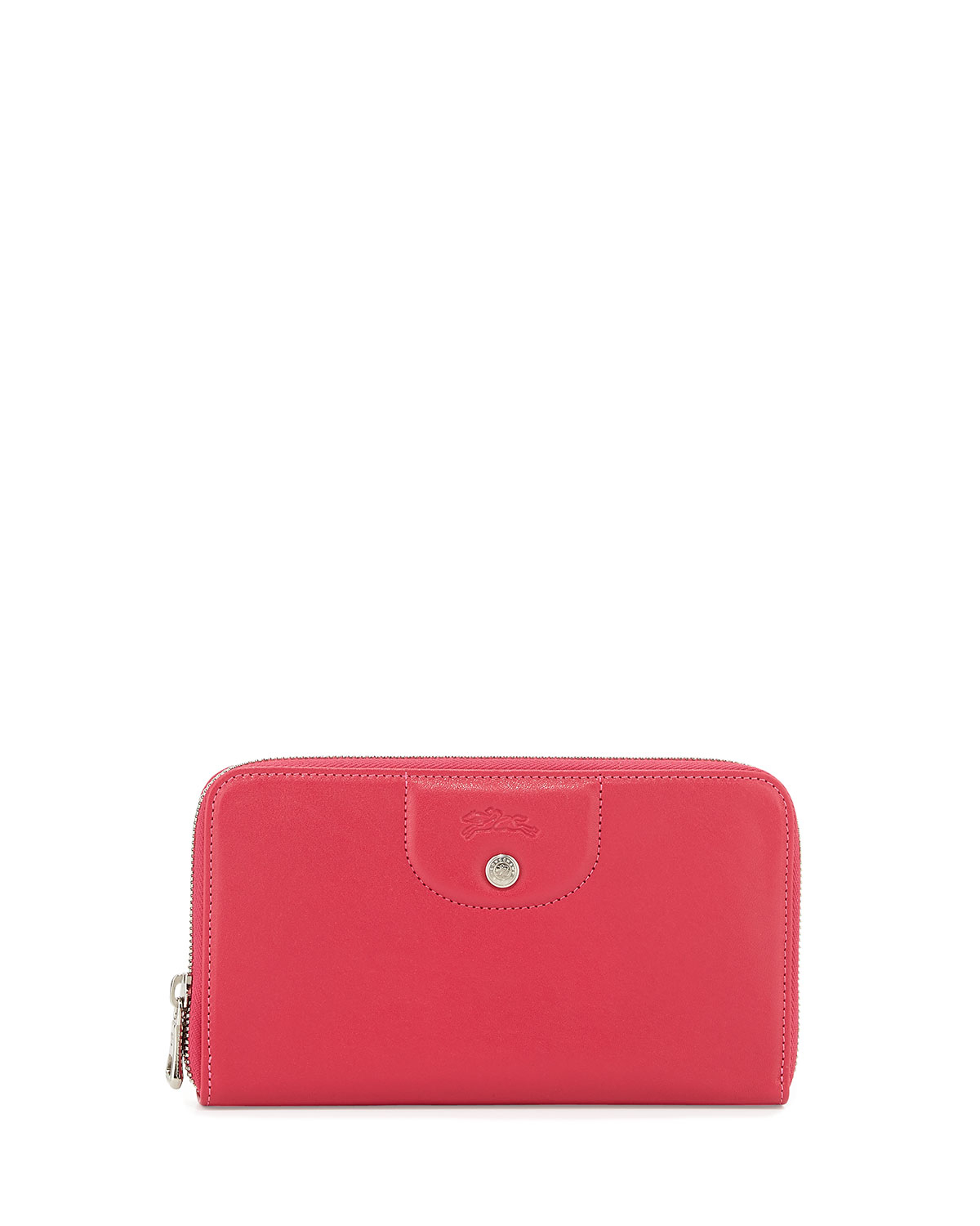 Longchamp Le Pliage Cuir Zip Around Leather Wallet In Pink