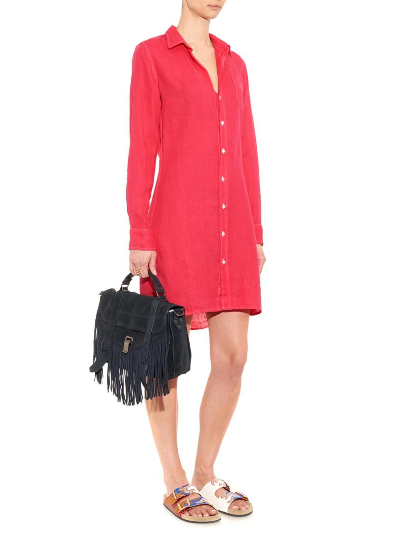 1f408f137e Lyst - Frank   Eileen Murphy Linen Shirtdress in Red
