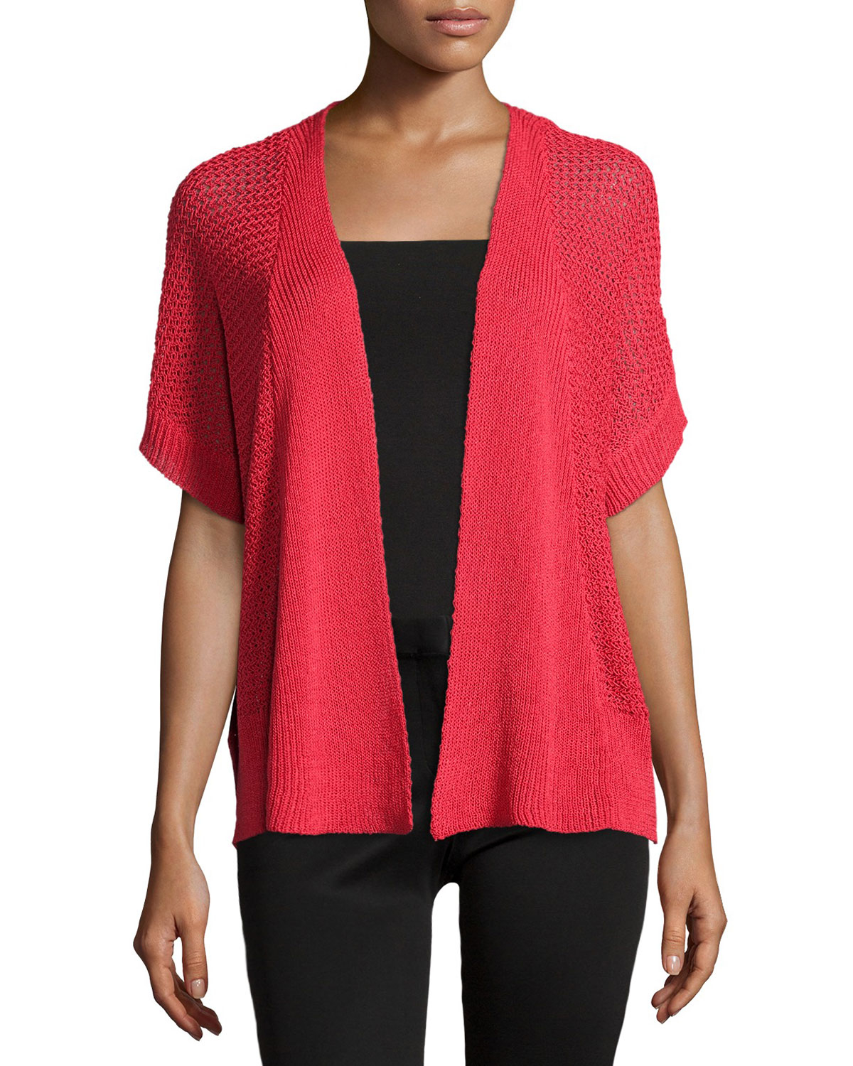 Joan vass Short-sleeve Open-front Cardigan in Red | Lyst
