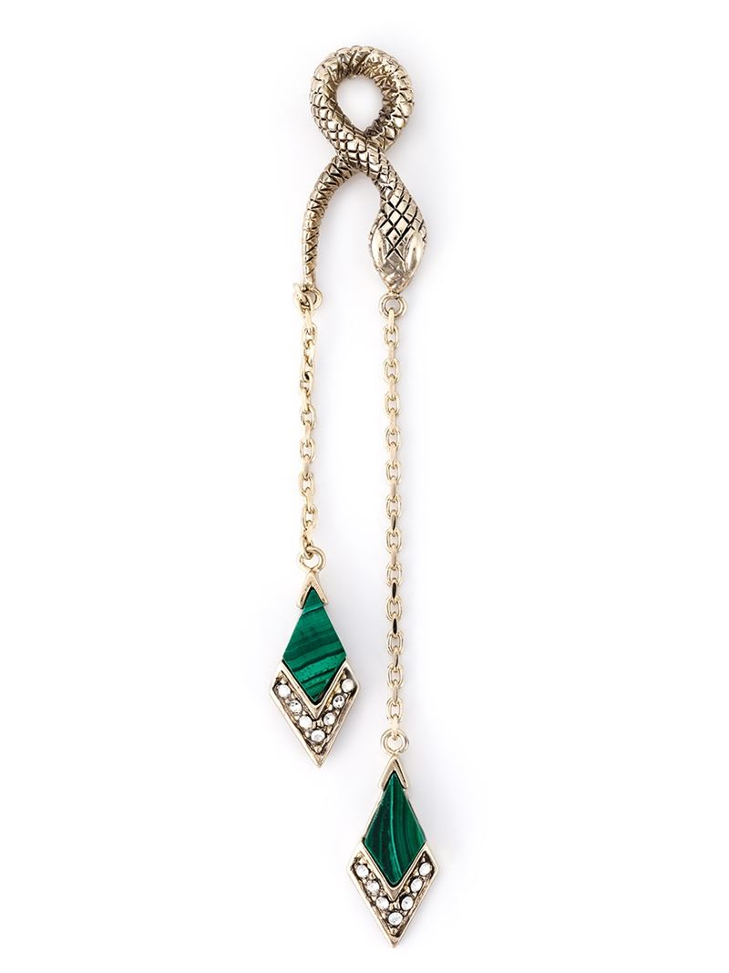Lyst Roberto Cavalli Single Snake Earring With A Green