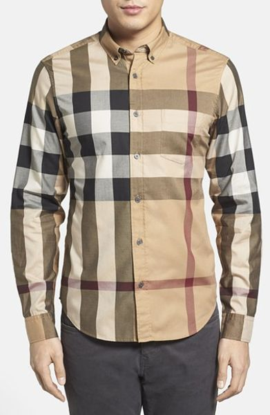 Burberry Brit 39 Fred 39 Trim Fit Sport Shirt In Beige For Men