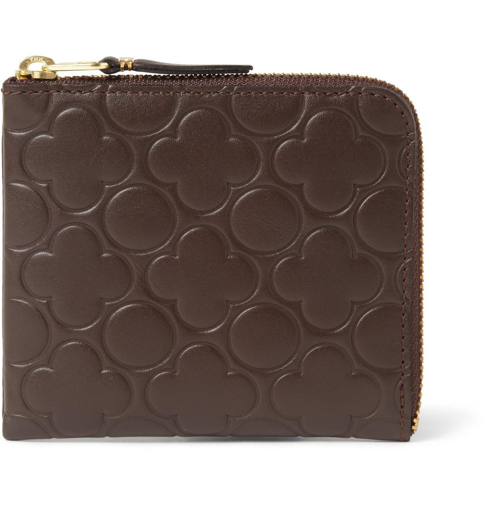 Comme Des Gar 231 Ons Half Zip Embossed Leather Wallet In