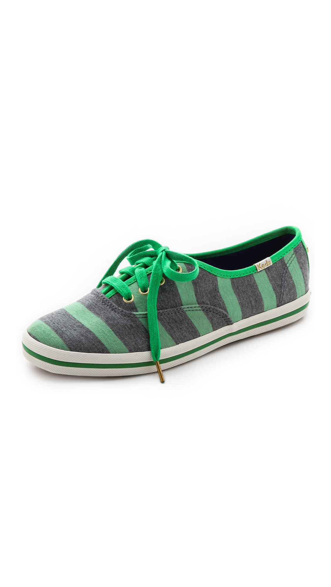 Kate Spade Keds For Kate Spade Kick Striped Sneakers - Metropolis Green