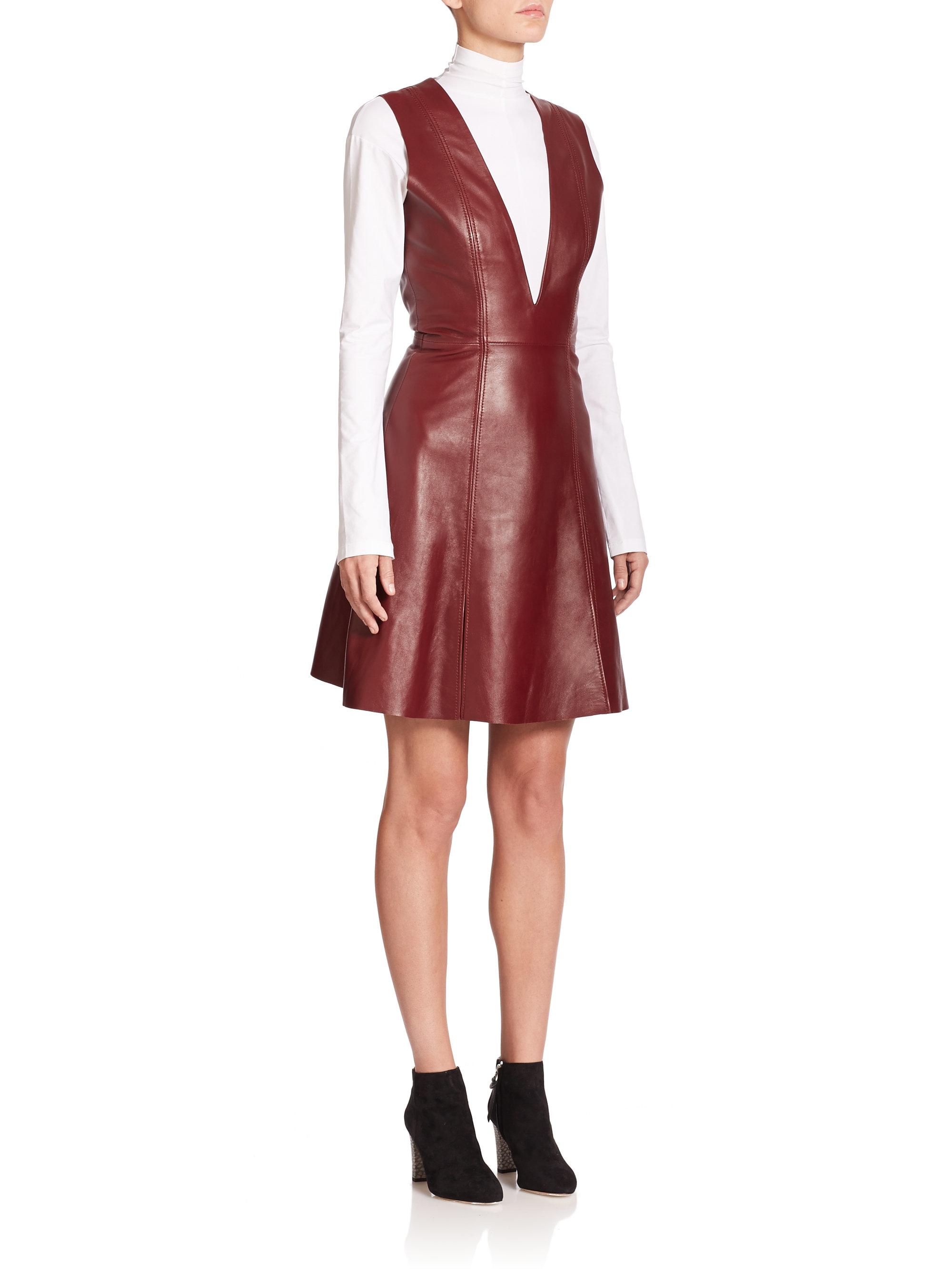 Acne Studios Lavern Flared Leather Dress Lyst