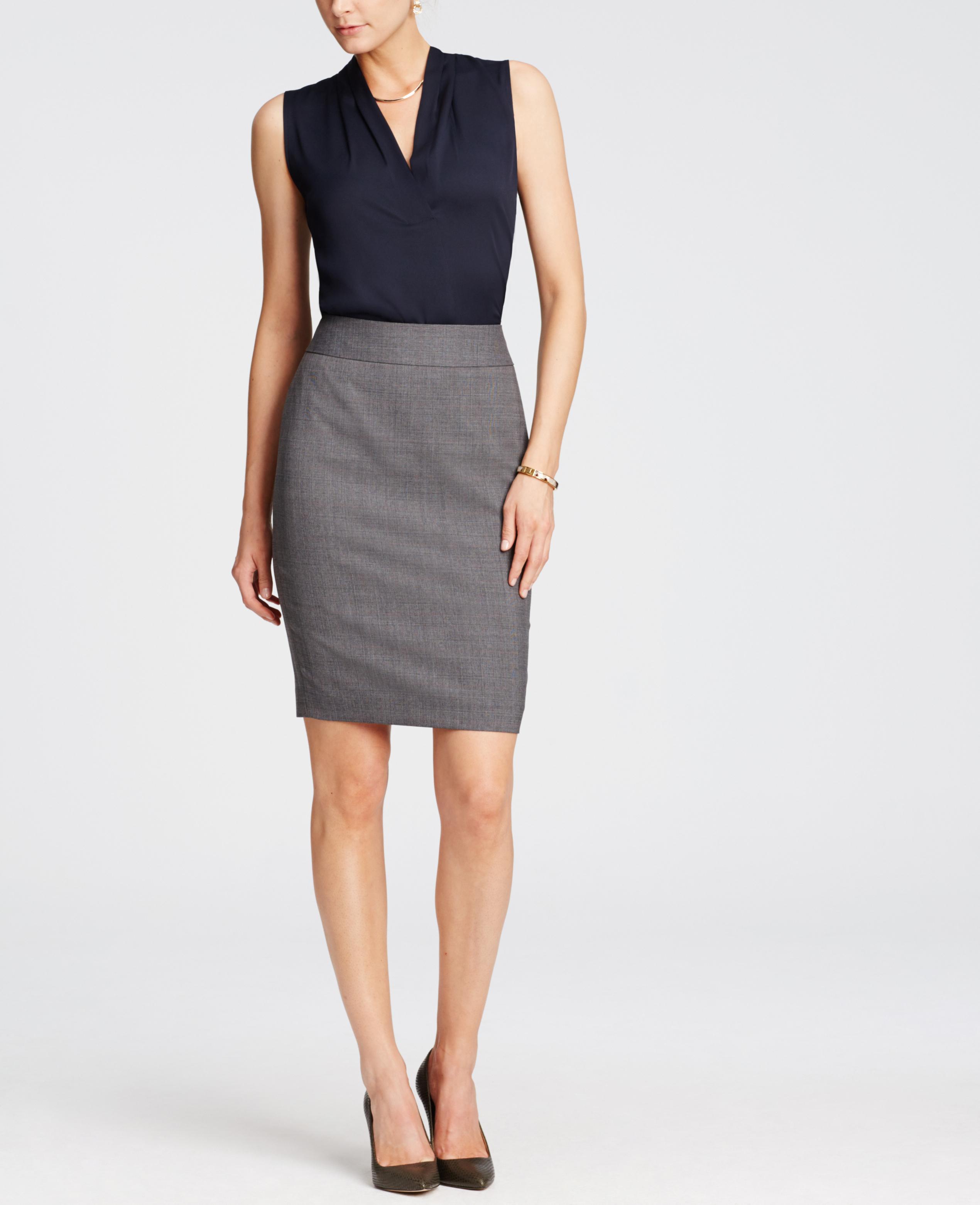 Ann Taylor Glen Plaid Pencil Skirt In Gray Lyst