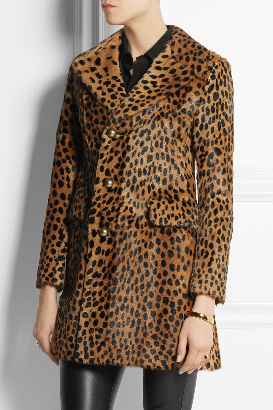 f89981c186ed Lyst - Saint Laurent Leopard-Print Goat Hair Coat