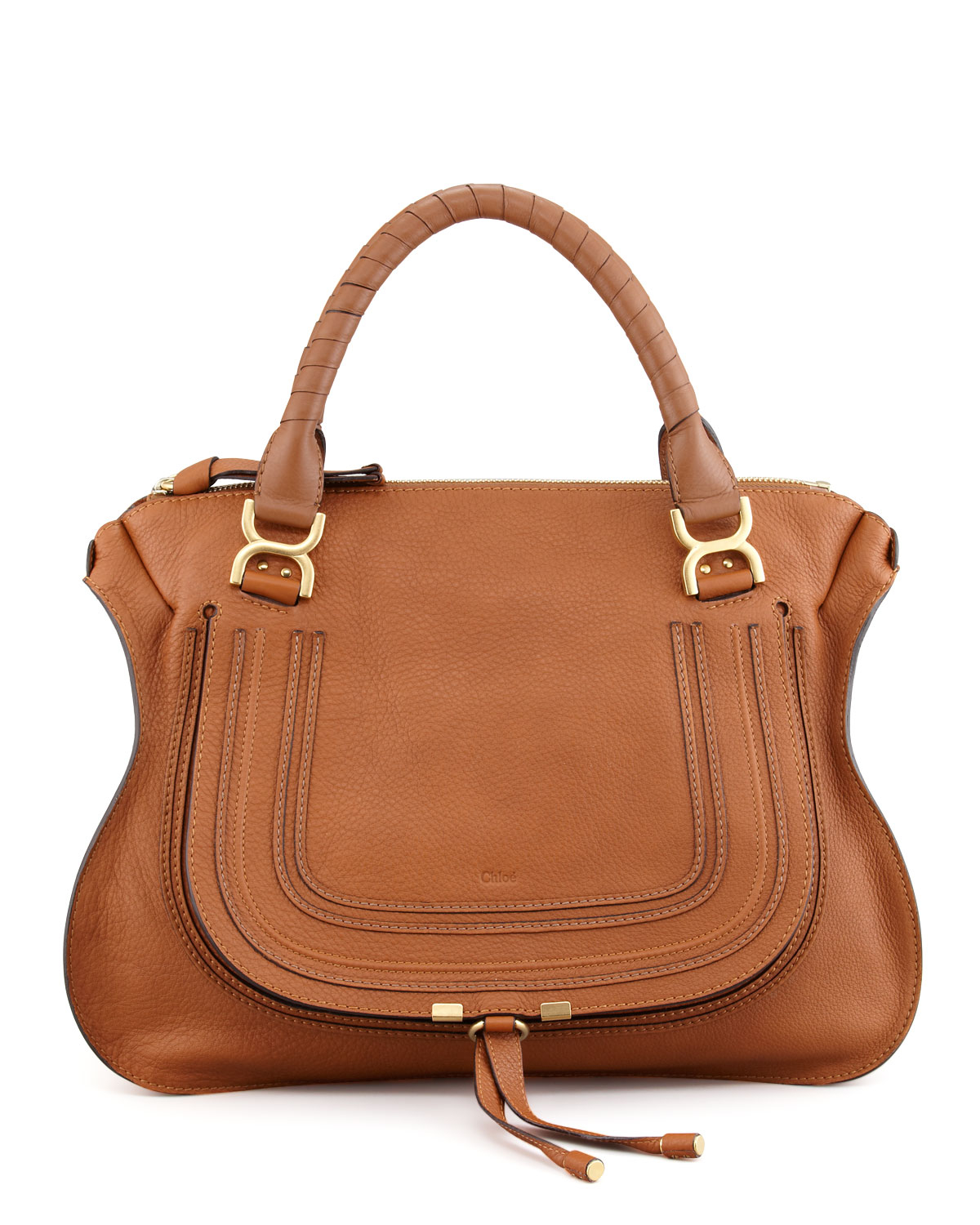chloe pink handbag - Chlo�� Marcie Large Leather Satchel Bag in Brown (TAN) | Lyst