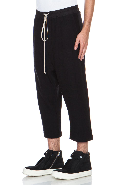 Lyst Rick Owens Drawstring Cropped Woolblend Pant In Black