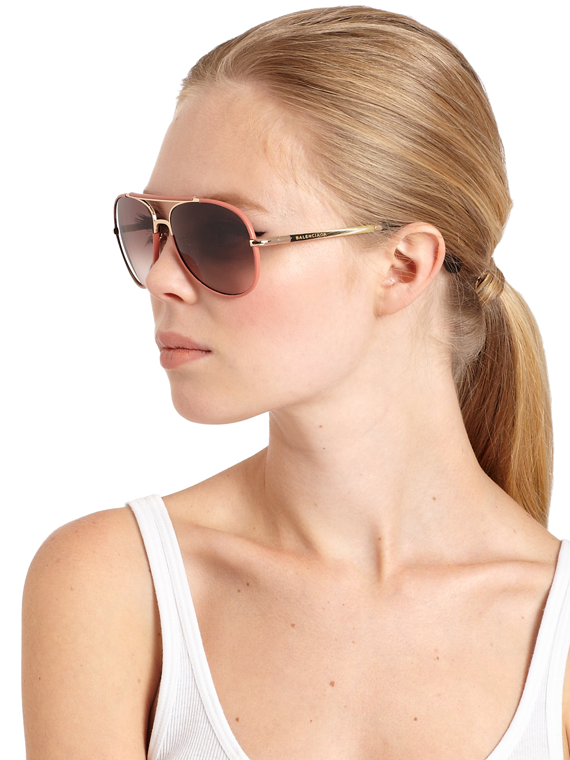 86ead0234 Balenciaga Leather-trimmed 60mm Aviator Sunglasses in Orange for Men ...