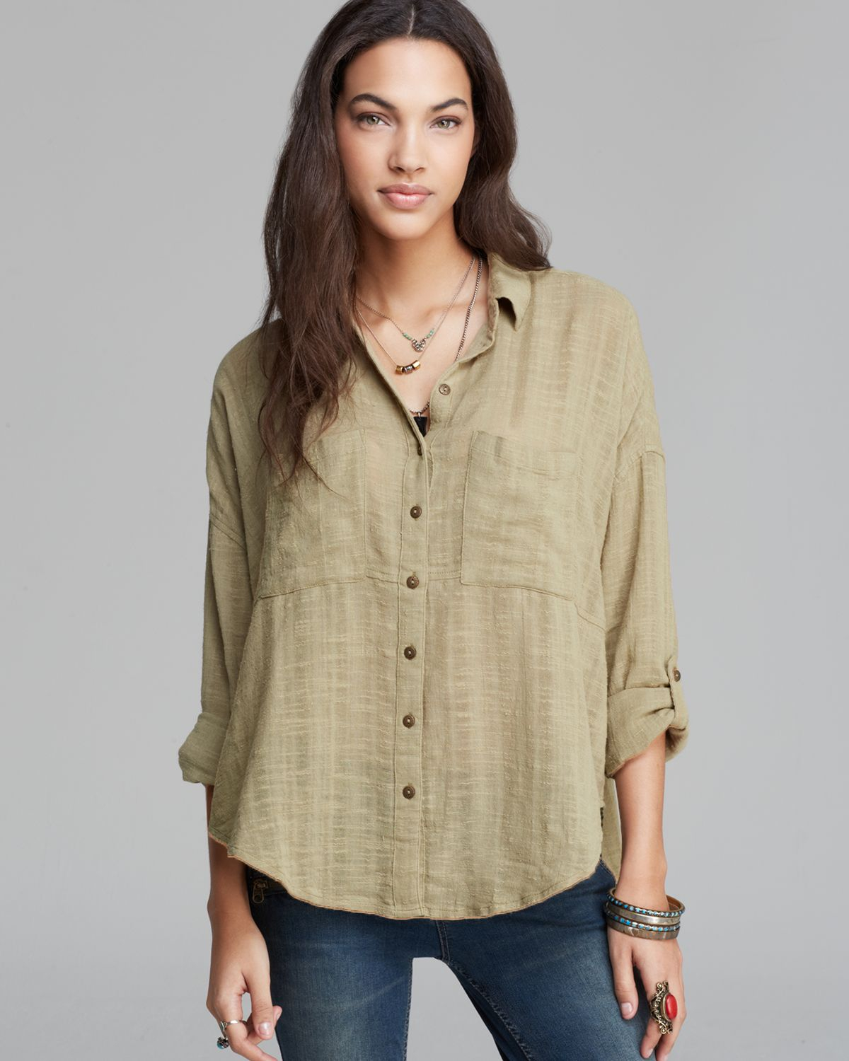 c29c8eca0 Free People Shirt Shibori Siren Button Down in Green - Lyst