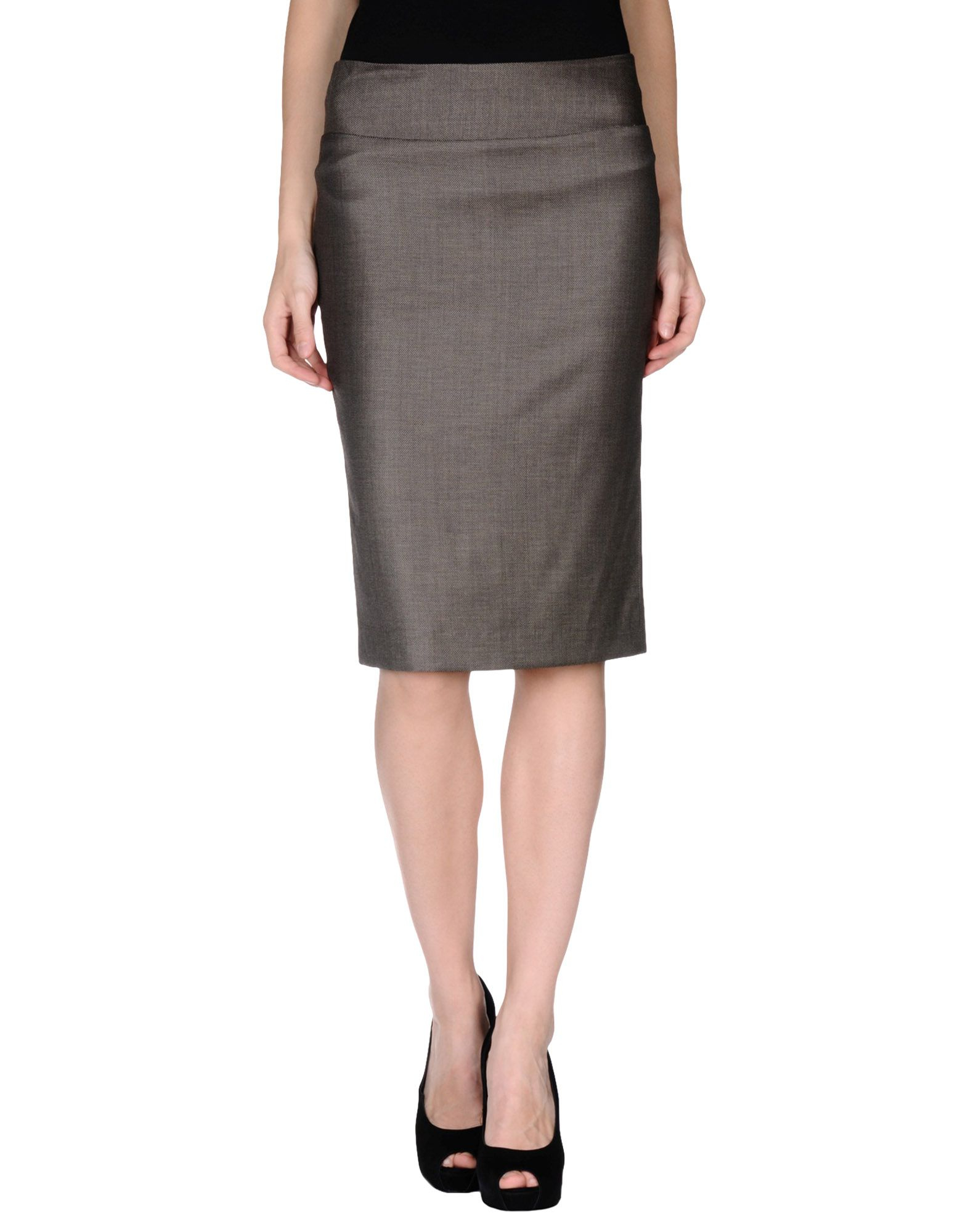 malo knee length skirt in brown brown save 66 lyst