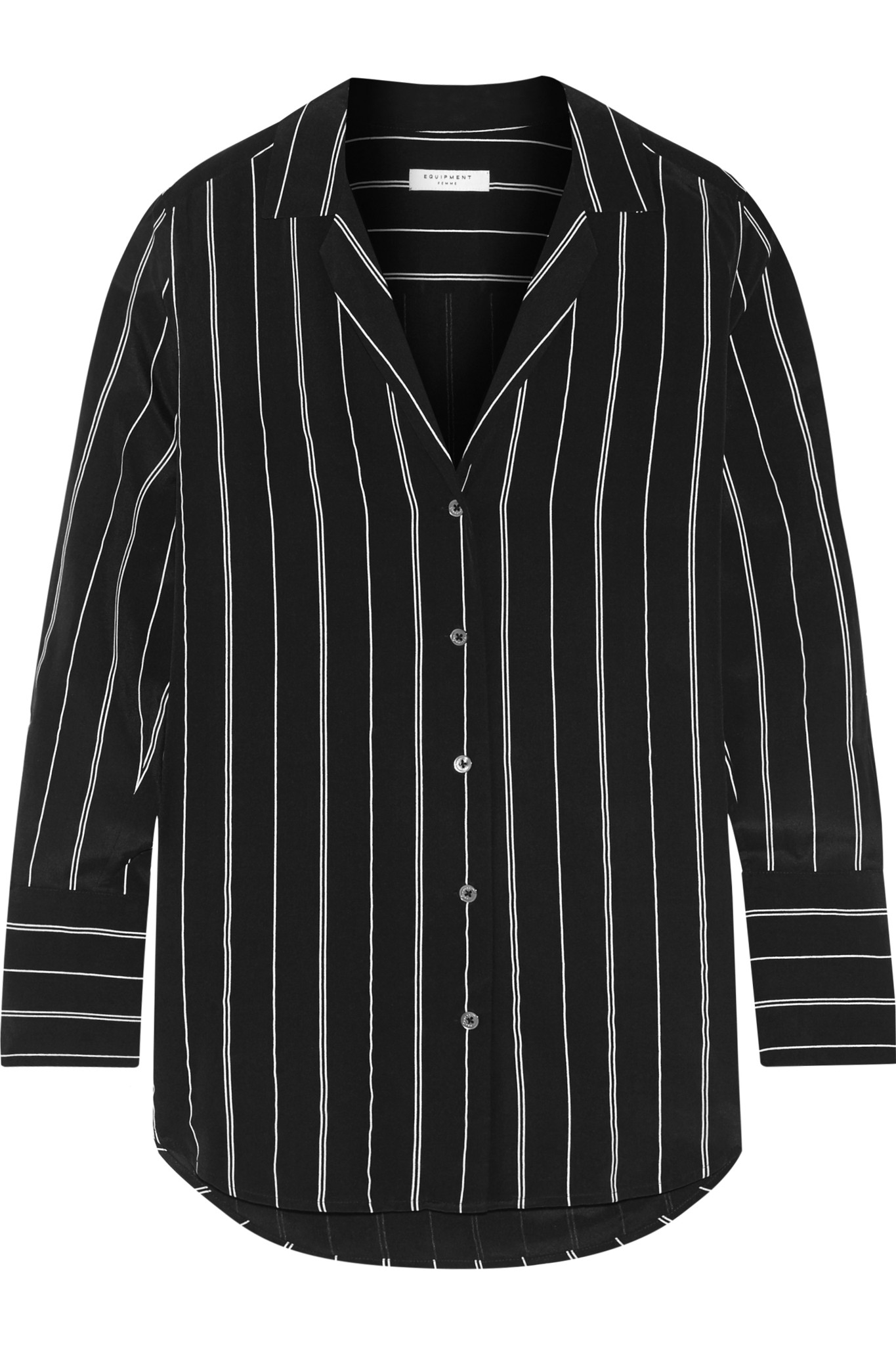 Equipment may striped washed silk shirt in black save 56 for Equipment black silk shirt