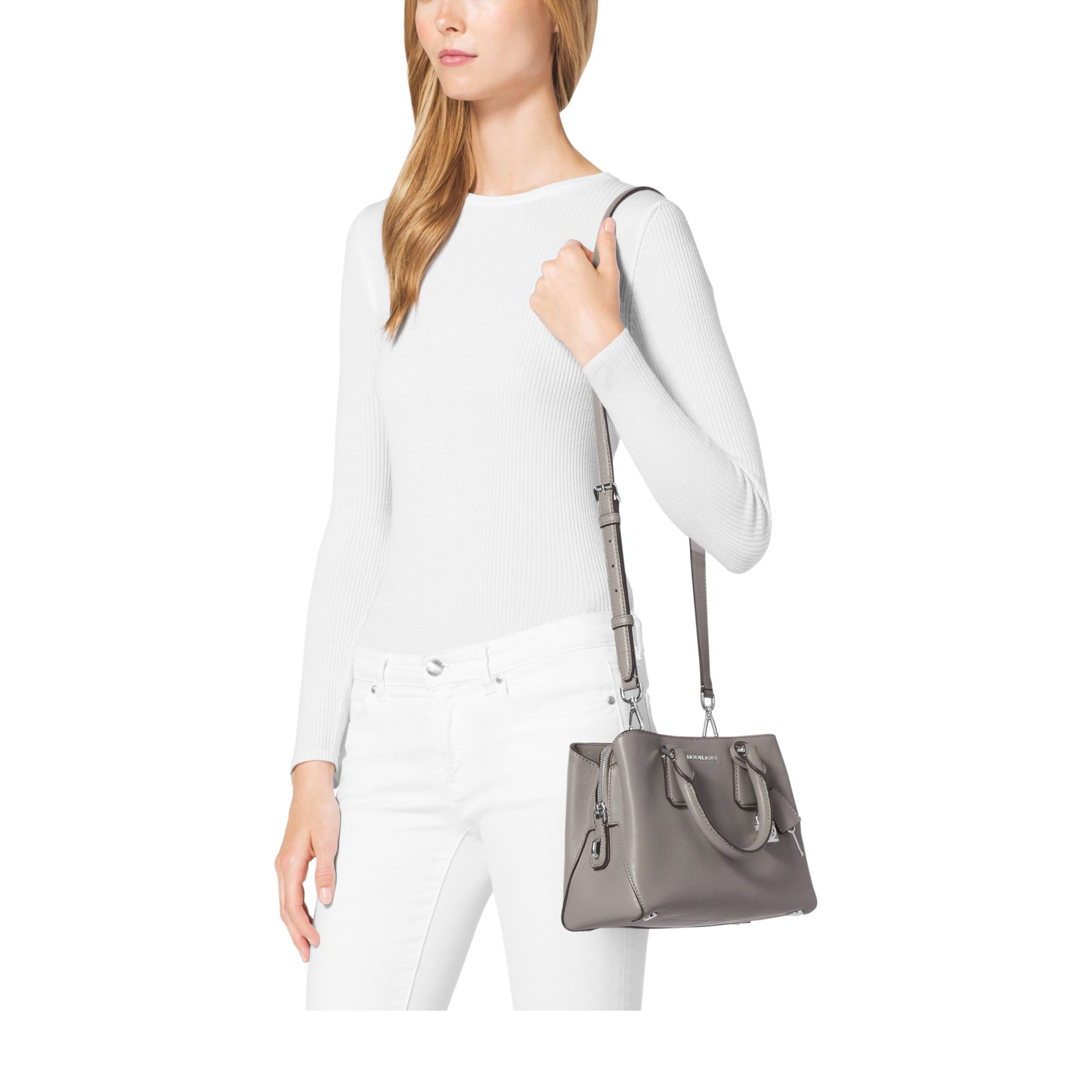 9b01dbfdc2eb Michael Kors Camille Small Leather Satchel in Gray - Lyst