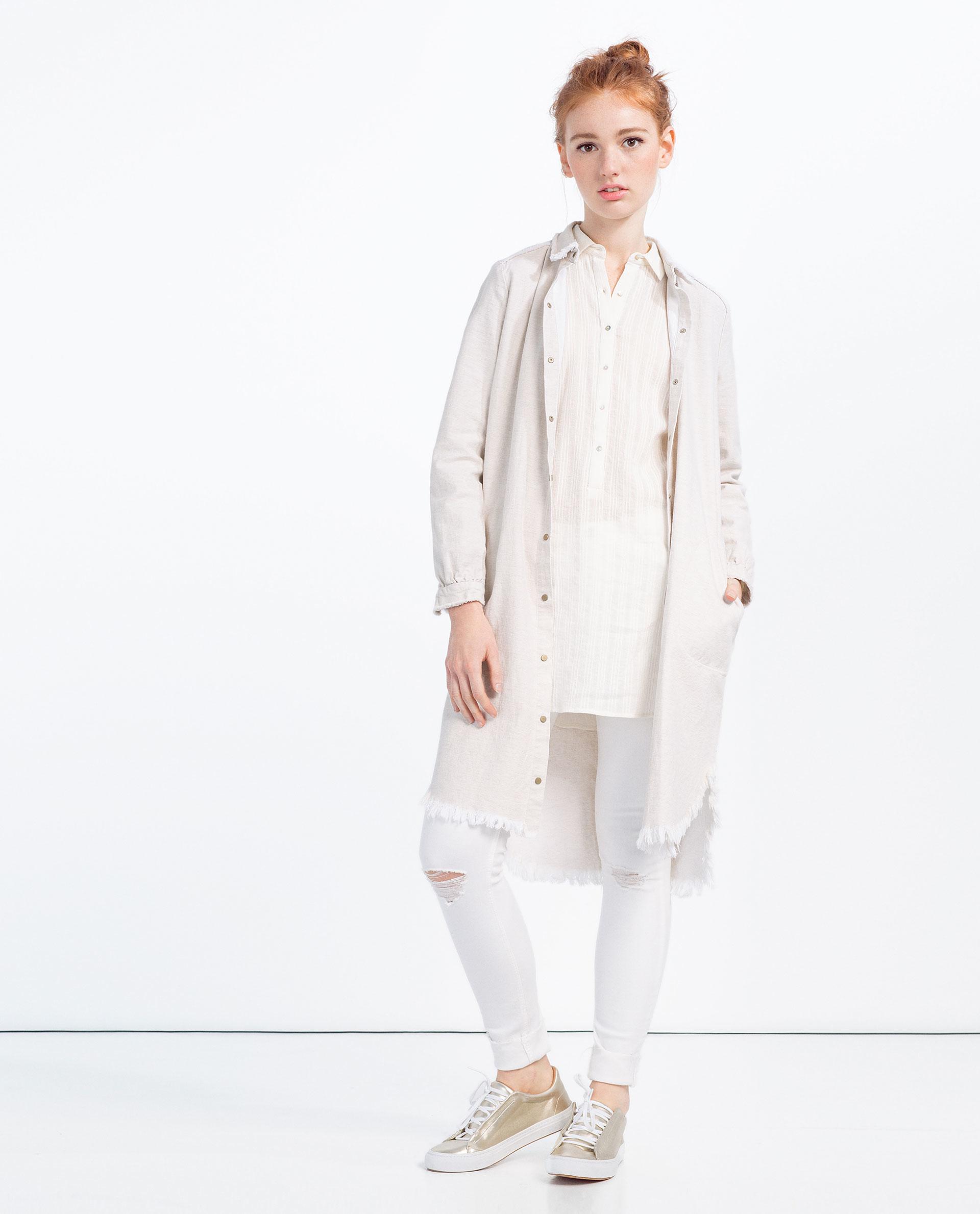 Zara shirt dress in white lyst for Zara black t shirt dress