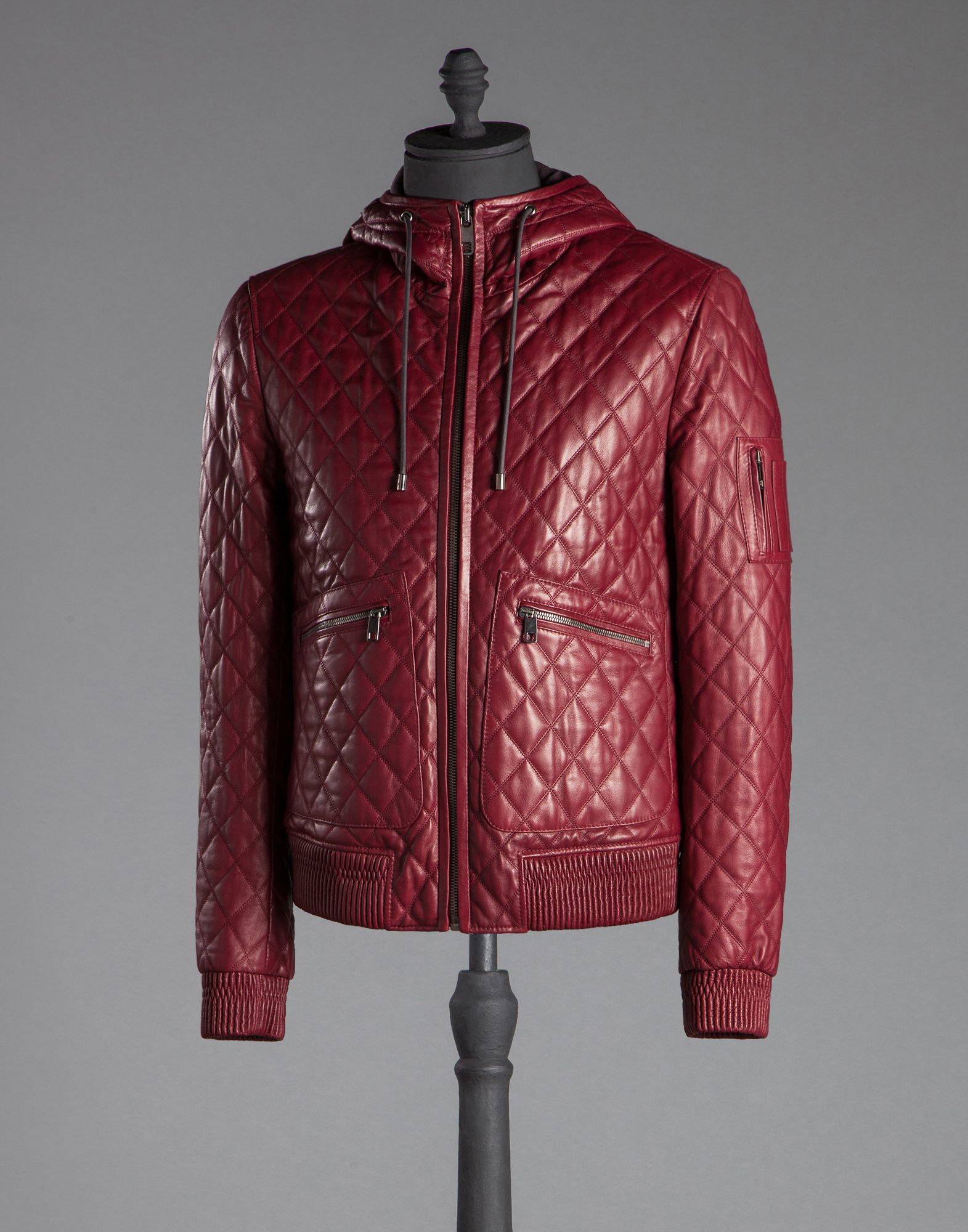 Lyst Dolce Amp Gabbana Hooded Quilted Nappa Leather Jacket