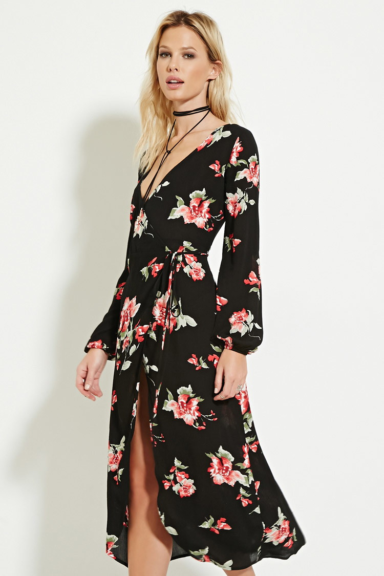 Forever 21 Floral Print Wrap Midi Dress In Red Lyst