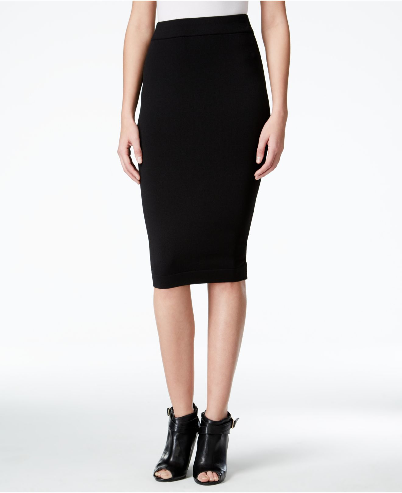 kensie bodycon stretch pencil skirt in black save 24 lyst