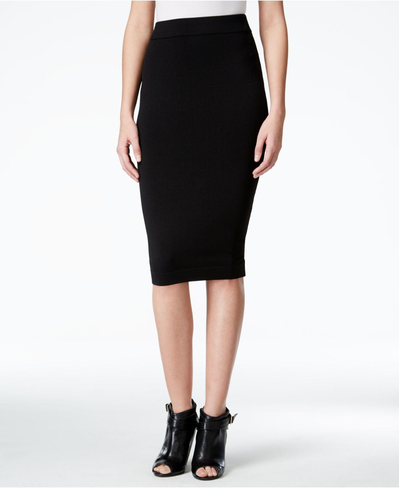 kensie bodycon stretch pencil skirt in black save 24 lyst