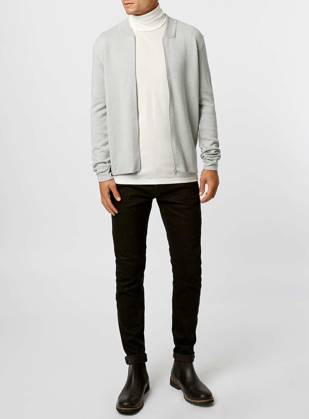 244fc9627 Lyst - TOPMAN Light Grey Knitted Bomber Jacket in Gray for Men